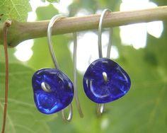 Cobalt Blue Glass Flower Earrings - Long Stem - Flower Jewelry - Czech Glass Beads - Sterling Silver Wire Jewelry on Etsy, $14.50