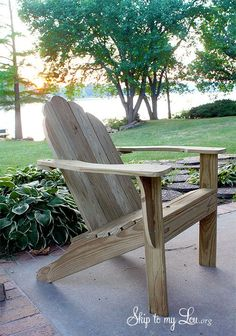 Build your own Adirondack Chair --- free printable plans and step by step tutorial! http://www.skiptomylou.org/2012/08/02/free-adirondack-chair-plan-printable/