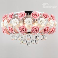 Idyllic Modern Pink Flower Crystal 5 Lights Flush Mount - beddinginn.com