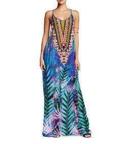 Loving this Blue & Teal Racerback Maxi Dress on #zulily! #zulilyfinds