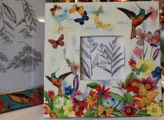 Hummingbird Garden photo frame hand crafted by Terri Yellalonis. SOLD!