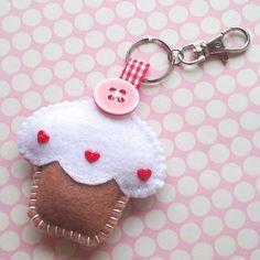 Handmade Felt Cupcake Keyring Charm  Toffee by ilovehearts on Etsy, £5.99