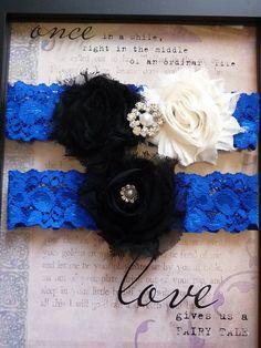 Black And Ivory Wedding Garter Set