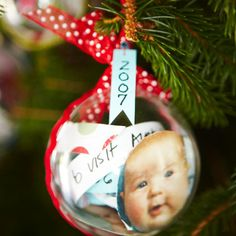 Time Capsule Ornament | Commemorate your baby's first Noel -- and each one thereafter -- with a tree ornament that's filled with handwritten recollections of the year. The plastic balls are easy to open, so your child can reread the notes every Christmas.
