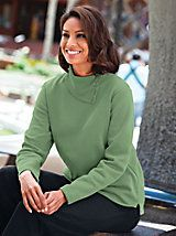 "Asymmetrical Neckline Fleece Top | BlairAdd a dash of asymmetry to your wardrobe. The savvy ribbed neckline is detailed with decorative, dyed-to-match buttons. Long sleeves, side vents. Approx. 27""L. Cotton/polyeste... Read More >> mineral"