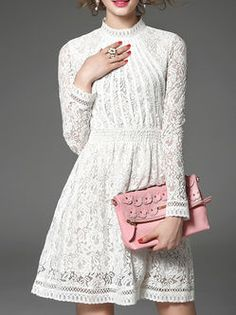 Lace Half Sleeve Plain Pierced Mini Dress