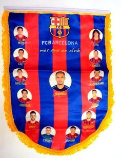 """Official Licensed GENUINE 15""""x11"""" FC Barcelona Team Siganture Print & Image Pennant - Licensed FC Barcelona Merchandise by FC Barcelona. $11.99. FC Barcelona Pennent - with Images of player & signature prints. Size 15""""x11"""" (38cm x 28cm). IMPORTANT CHRISTMAS SHIPPING NOTICE!! - if ordered AFTER Dec. 5th, we CANNOT guarantee arrival by Christmas Eve (although the closer it is to the 5th, chances are it will arrive) - Reason is that US postal mail Volume is extremely ..."""