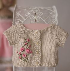 The sweetest bullion roses embroidered on a knit doll jacket