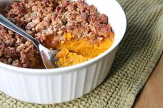 #paleo #thanksgiving Praline Butternut Squash Casserole: 4 cups pureed butternut squash (2 medium squash); 4 tablespoons melted butter; 2 eggs; ½ teaspoon salt | Topping: ½ cup shredded coconut, unsweetened; ½ cup toasted chopped pecans; ½ cup almond flour, packed; ½ teaspoon cinnamon; ⅛ teaspoon nutmeg; ¼ teaspoon salt; ¼ cup honey; 4 tablespoons butter, room temperature