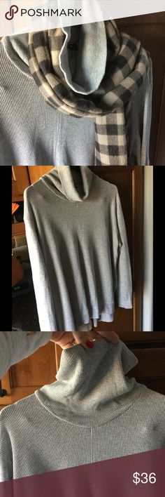 Women's Gray Bylyse cowl neck size XL Never worn. Perfect condition. This wonderful top is made from 68% bamboo, 29% cotton, and 3% spandex. The waffle texture feels cottony soft with just the right amount of give. Dress it up or down by wearing it plain, styled with a scarf or necklace, or a shirt underneath. (The scarf pictured is not included in this listing...for styling purposes only.) Bylyse Tops Sweatshirts & Hoodies