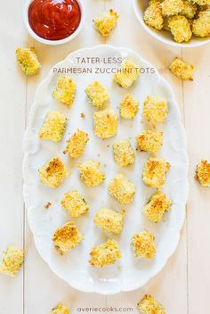 Tater-Less Parmesan Zucchini Tots - You'll never miss the taters! Crispy, crunchy, and sooo good! You'll forget you're eating zucchini!