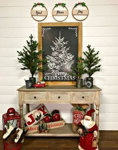 Christmas toys, evergreen trees, a chalkboard sign and red touches make up a vintage look