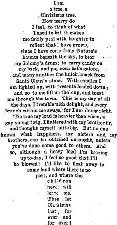 Christmas Tree Poem (1895) | I am a tree, a Christmas tree