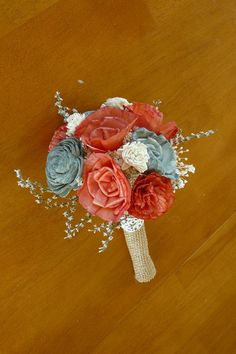 Wedding Sola wood Bouquet Coral and gray by TheBloomingCorner, $47.00
