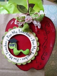 Teacher Gifts All about school set Lori Hairston Teacher Gift Tags, Teacher Cards, Cardboard Crafts, Paper Crafts, Scrapbook Paper, Scrapbooking, How To Make An Envelope, Shaped Cards, Apple Orchard