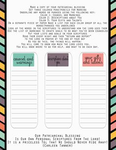 patriarchalblessings Worksheet- How to study your patriarchal blessing What a great idea- LM Lots of great stuff on her site just really hard to locate what you are looking for