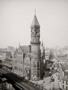 """New York City circa """"Jefferson Market Courthouse."""" Now a library. Looking down West Street at Sixth Avenue in Greenwich Village. Vintage b&w photo NYC Old Pictures, Old Photos, Antique Photos, Usa Cities, New York Photos, Vintage New York, Greenwich Village, New York Public Library, Vintage Photographs"""
