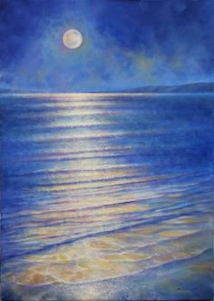 ARTFINDER: Golden Moon by Stella Dunkley - Original impressionistic seascape painting, moonlight over the sea, with blues, gold, mauve & white, signed on the front, sent with a certificate of authenti...