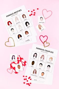 25 Cute and Funny Free Printable Valentines Saint Valentine, Valentines Diy, Slumber Party Games, Balloons And More, Tattoo Paper, Couple Games, Memory Games, Matching Games, Valentine's Day Diy