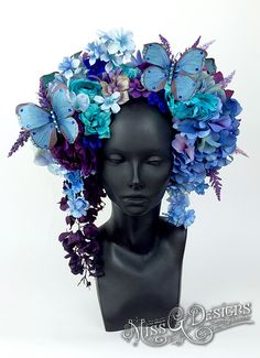 Blue Flower Headdress with Butterflies by MissGDesignsShop on Etsy