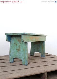 SALE Primitive Wood Bench / Vintage Green Bench by 86home on Etsy, $242.25