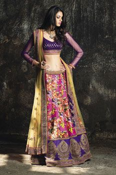 Digital print ghagra, with banarasi weaved blouse, embellished with stone and sequins work along with net dupatta.