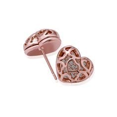 Lady's Brass Rose Gold Plated Chambered Heart Earrings with Clear Swarovski Elements Stones