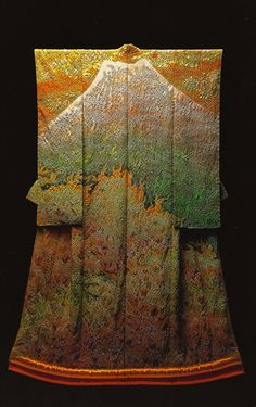 Fuji, Glittering in Gold (1989) )by the Late Japanese textile artist Itchiku Kubota(1917-2003) form the exhibition,Kimono as Art: The Landscapes of Itchiku Kubota, Canton Museum of Art in Canton, Ohio