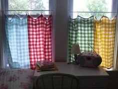 love these gingham tea towels as cafe curtains....... HA! Just came across this pin from MY HOUSE in Duluth!!!! Someone pinned it from my old blog:D CRAZY.