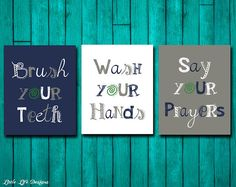 Bathroom Wall Art - Brush Your Teeth - Bathroom Sign - Wash Your Hands - Bathroom Decor - Say Your Prayers - Bathroom Art - Kids Bath Art Boys Room Decor, Kids Decor, Boy Room, Decor Ideas, Decorating Ideas, Kids Bathroom Art, Bathroom Wall Decor, Boy Wall Art, Bath Art