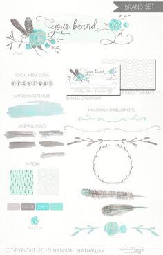 Business Identity Brand Set: Pre Made Feminine Boho Feather Flower Logo