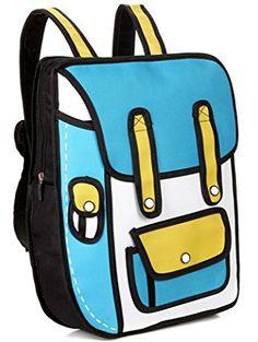 ded660c39b Funny 3D Cartoon Backpack Students School Campus Bags Satchel Blue 3d  Cartoon