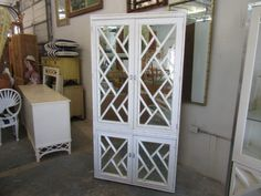 Vintage Chippendale Faux Bamboo Cabinet