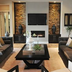 Living room wall design photos fantastic contemporary living room designs p Stone Wall Living Room, Living Room Wall Designs, Living Room Images, Interior Design Living Room, Brick Wallpaper Living Room, Interior Balcony, Ikea Interior, Studio Interior, Interior Livingroom