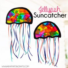 Suncatcher Jellyfish Kids Craft jellyfish craft - ocean kid craft - crafts for kids- kid crafts. Sea Animal Crafts, Animal Crafts For Kids, Toddler Crafts, Preschool Crafts, Art For Kids, Kids Fun, Animal Activities For Kids, Creative Activities For Kids, Jellyfish Kids