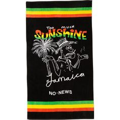 No News Bootleg Jamaica Beach Towel Black ($38) ❤ liked on Polyvore featuring home, bed & bath, bath, beach towels, accessories, black, men, towels, cotton beach towels and black beach towel