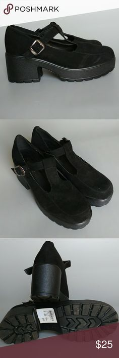 """🐕🐾 Topshop platform Mary Janes, US 9.5 As new, worn once. Black suede (may be faux) with chunky sole. US 9.5 (EU 40). Slight scuff on sole (pic5).  Heel 3"""", platform 1.25""""  🐕🐾THIS ITEM IS BEING SOLD TO BENEFIT WWW.WAGGYTAILRESCUE.ORG (501(c)3) All proceeds will be donated.  Smoke free home shared with a small dog. Reasonable offers welcome, bundle and save! Topshop Shoes Platforms"""