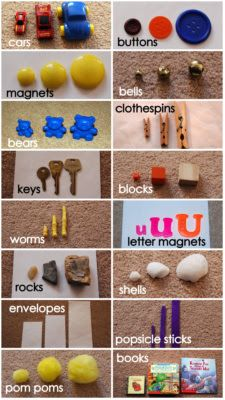 Size: small, medium, large. Type of manipulative: Buttons, toy cars, bears, ect. Children use the given manipulatives to sort out in as many diiferent ways as possible.