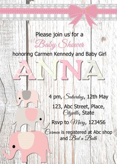 Pink elephants invitation birthday party by LittlePinkElephant03
