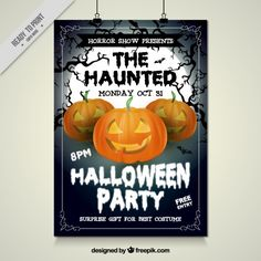 Halloween party poster with haunted pumpkins Free Vector