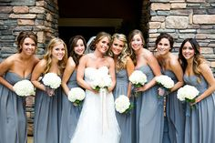 Napa Wedding from Adeline and Grace Photography Read more… Grey Bridesmaids, Grey Bridesmaid Dresses, Colored Wedding Dresses, Wedding Colors, Wedding Styles, Grey Dresses, Bridesmaid Flowers, Burgundy Bridesmaid, Short Dresses