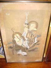 Nagasaki Japanese painting on silk from officer's estate