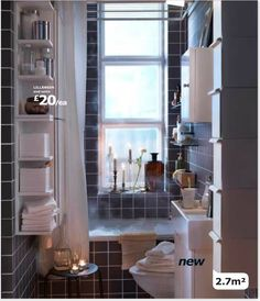 Open shelves on cabinet, grey and white.     beautifully compact IKEA bathroom