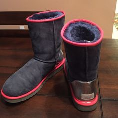 Custom Ugg Boots Size 11 - Navy, Red, and Silver Ugg by You Custom | Only worn a handful of times UGG Shoes Winter & Rain Boots