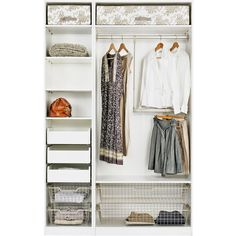 IKEA PAX Wardrobe with interior organizers, white, Hemnes gray-brown found on Polyvore