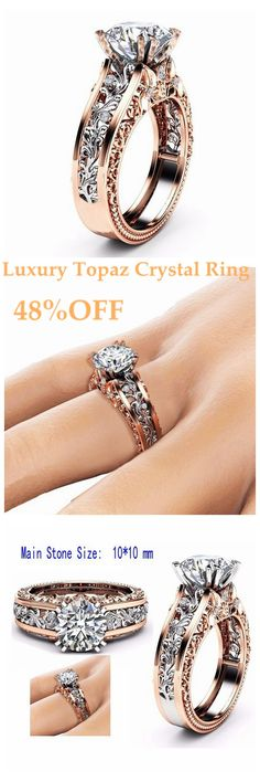 US$17.99 Luxury Topaz Stone Inlaid 14K Rose Gold Flower Hollow Platinum Rings Wedding Gift for Her