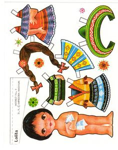 Mexicanas - Ale Saldivar - Picasa Albums Web Paper Art, Paper Crafts, Paper Doll House, Paper Dolls Printable, Paper Animals, Thinking Day, Doll Quilt, Vintage Paper Dolls, Little Doll