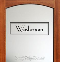 Washroom Decal - Vintage Style Rectangle Design - Washroom Wall Decal - Vinyl Lettering Text Window Door Bathroom Vinyl Decal etc.