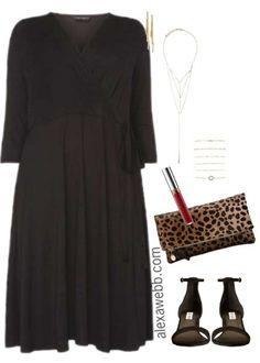 Plus Size Black Wrap Dress Outfit - Plus Size Fashion for Women - alexawebb.com #alexawebb