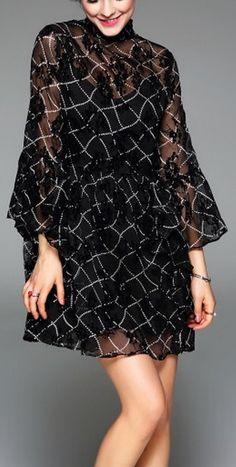 Black Plaid Print Stand Collar Balloon Sleeve Layer Ruffle Hem Mini Dress. Discover unique designers fashion at napswan.com